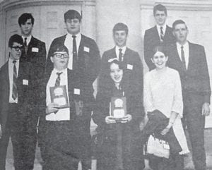 These Whitesburg High School students took part in a recent Regional Mathematics Contest held at Cumberland College, Williamsburg, and brought home a secondplace trophy to the school. Knox Central was the winner and Corbin placed third. The group included (front row, left to right) Herby Smith, who placed fourth in the Algebra event, and Marty Newell, who won the Algebra I division; Teresa Baker, who won the Algebra I division; Linda Ison, who tied for fourth place in the advanced test; (second row) Chuck Williams, Eddie Newell, Scott Vermillion, Randy Breeding and James Arthur, teacher.