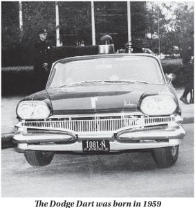 The October 1, 1959 edition of The Mountain Eagle, like most other newspapers across the nation, carried advertisements announcing the arrival the following week of two new models of automobiles that would become top sellers — the 1960 Dodge Dart, a model of which is pictured above, and the 1960 Ford Falcon. The Dart arrived in showrooms on October 9, 1959, one day after the Falcon debuted. The Dodge Dart seen in this photo is one of a total of 225 police cars ordered by the New York City Police Dept. It was parked in front of the United Nations building on Sept. 27, 1960, giving it a leg up on other new cars in terms of advertising. (AP Photo)