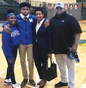 Tony Geiger, right, and his wife, Ramona, liked the way Kentucky coaches talked about more than football with their son, Jalen, before his commitment. His sister, Ja'nia, also is all in with Kentucky.