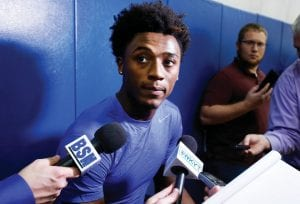Kentucky's Ashton Hagans answers a question during the university's basketball media day October 1. (AP Photo)