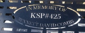 A new bench carries the name of late KSP Trooper Bennett David Combs.