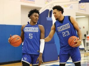 Sophomore guard Immanuel Quickley, left, practiced recently with EJ Montgomery. Quickley says experience he got last year will make him a much better player this season. (Vicky Graff Photo)