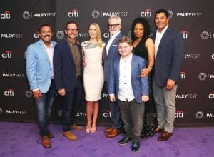 "Cast members Rizwan Manji, Will Greenberg, Anna Camp, Bradley Whitford, Spencer Allport, Tymberlee Hill and Geno Segers, from left, attended the NBC Presentation of ""Perfect Harmony."" (AP Photo)"