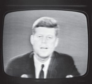 "President John F. Kennedy, during a television and radio address October 22, 1962, from the White House tells the American people that the U.S. is setting up a naval blockade against Cuba. The president also said the U.S. would wreak ""a full retaliatory response upon the Soviet Union"" if any nuclear missile is fired on any nation in this hemisphere."" (AP Photo/Bill Allen)"
