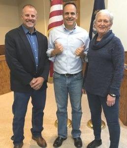 Letcher County Judge-Executive Terry Adams, Governor Matt Bevin, Fleming-Neon Mayor Susan Polis