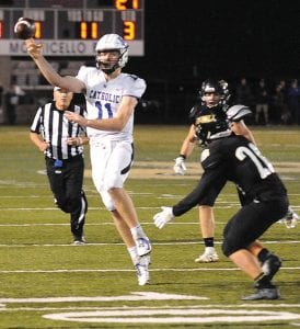 Lexington Catholic quarterback Beau Allen, a UK commit, has impressed Boyle County coach Chuck Smith not only with his passing but his ability to move in the pocket to get off his passes. (Advocate- Messenger Photo by Derek Brightwell)