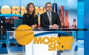 """Jennifer Aniston, left, and Steve Carell in a scene from """"The Morning Show,"""" which debuted Nov. 1, as part of the first wave of series that is launching the Apple TV Plus streaming service. (Apple TV Plus via AP)"""