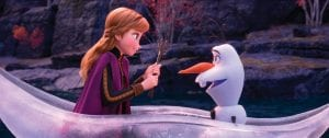 """This image released by Disney shows characters Anna, voiced by Kristen Bell, and Olaf, voiced by Josh Gad, in a scene from """"Frozen 2."""" (Disney via AP)"""