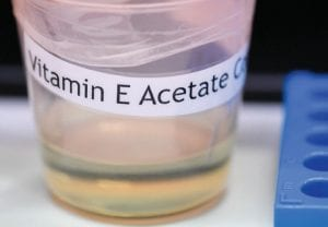 This photo shows a vitamin E acetate sample during a tour of the Medical Marijuana Laboratory of Organic and Analytical Chemistry at the Wadsworth Center in Albany, N.Y. The Centers for Disease Control and Prevention in Atlanta said recently that fluid extracted from 29 lung injury patients who vaped contained the chemical compound in all of them. (AP Photo/Hans Pennink)
