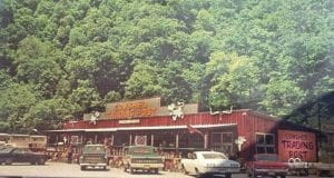 A 1970s photo of the Cowshed Trading Post at Isom.