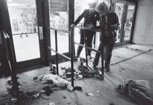Shoes and other items of clothing torn from concertgoers could still be seen outside Riverfront Coliseum in Cincinnati, Ohio on December 4, 1979, the day after 11 people were killed trying to get into a concert by The Who. (AP Photo)