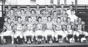 KENTUCKY ALL STAR TEAM — Members of the Kentucky team who played in the Kentucky-West Virginia Senior All Star Bowl – 1957 were (first row, left to right) Donnie Skaggs, Fleming-Neon; Buddy Elkins, Pikeville; Larry Phillips, Pikeville; Vernon Rowe, Hazard; Butch Woods, Pikeville; Major Sparks, Whitesburg; Frankie Patton, Pikeville; Johnny Maynard, Belfry; (second row) Harry Johnson, Fleming-Neon; Pete Stidham, Hazard, Jim Cyrus, Paintsville; Larry Horner, Jenkins; Don Browning, Fleming-Neon; Howard Hatfield, Belfry, Coach Bobbie Phillips; (back row) C.A. Noble, Hazard; Monty Rice, Prestonsburg; Stanley Knight, Paintsville; Paul Sheets, Paintsville; H.L. Justice, Pikeville; Jim Conley, Paintsville; Paul Pelfry, Paintsville; and Coach Al Viperman. (Picture provided by Paul Sheets of Paintsville)