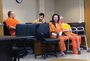 HEARING WAIVED — From left, Anthony Tucker, Charles Osborne, April Anita Baker, and Vickie Anita Baker sat in the Letcher District Courtroom Tuesday before waiving their rights to a preliminary hearing. The methrelated charges against them have been referred to the Letcher County Grand Jury. (Photo by Sam Adams)