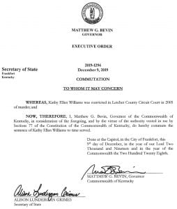 """Shown above is the order of commutation of the sentence of Kathy Walters Williams signed December 9 by then-outgoing Gov. Matt Bevin, who erroneously refers to """"Letcher County Circuit Court."""""""