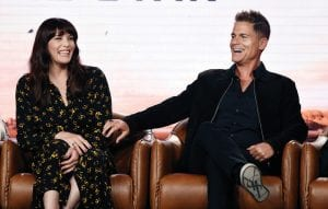 """Rob Lowe, right, and Liv Tyler, cast members in the upcoming television series """"9-1-1: Lone Star"""" shared a laugh during the 2020 FOX Television Critics Association Winter Press Tour last week in Pasadena, Calif. (AP Photo)"""