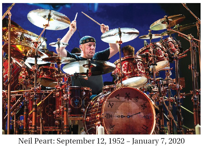 Neil Peart, the late drummer of Rush, is seen in this photograph performing at Riverbend Music Center in Cincinnati on July 2, 2013. (Photo by Amy Harris/Invision/AP)