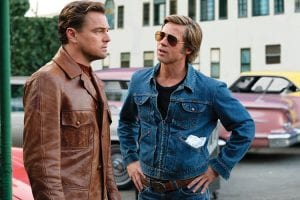 """Leonardo DiCaprio, left, and Brad Pitt appear in a scene from """"Once Upon a Time in Hollywood."""" The film is nominated for an Academy Award for best picture, while DiCaprio and Pitt are nominated for best actor and best supporting actor. (Sony via AP)"""