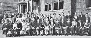 1938 FRESHMAN CLASS — Left to right are (front row) Geneva Spence, Irene Kincer, Jack Jenkins, Robert Preston, Lina Gibson, Blanch Reynolds, Ercell Frazier (sponsor), Virginia Mae Gamble, Ruth Taylor, Eddyth Wright, Fannie Hall, Elmer Potter, Junior Flanery, Henry Clay Taylor, Crandle Miles, Edward Johnson, Arthur Tilly, (back row) Ina Combs, Vera Mullins, Juanita Gentry, Percy Vance, Gaynell Hancock, Ruth Adams, Julia Burns, Peral Welch, Evelyn Williams, Julia Frazier, Thelma Hidvegi, Bonnie Bentley, Pauline Hooper, Harding Dawahare, Darrel Sisk, Harry Venters, Billie Hart, and Mayo Anderson.