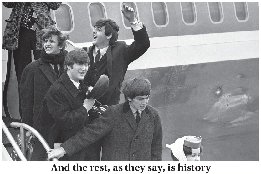 Fifty-six years ago this week, the Beatles arrived in the United States for the first time arriving in New York City on Feb. 7, 1964. Pictured on that windswept day as they stepped down from the plane that brought them from London to Kennedy airport are, left to right, Ringo Starr, John Lennon, Paul McCartney and George Harrison (AP Photo)