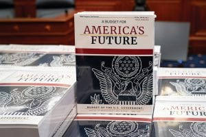 President Donald Trump's budget request for fiscal year 2021 arrived at the House Budget Committee on Capitol Hill in Washington on Feb. 10. (AP Photo)