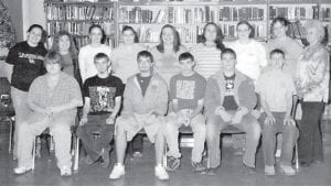 THE FINAL FLEMING-NEON ACADEMIC TEAM — Pictured are (front row, left to right) John Childers, Lee Warlick, Travis White, Andy Stidham, Taylor Wright, Corey Wright, (back row) Brittany Hunsaker, Whitney Bentley, Shannon Taylor, Margaret Eldridge, Leighanna Mullins, Kristy Hall, Tiffany Young, Kristy Taylor, and Mrs. Hampton (Coach).