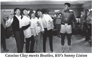 February 1964 was a huge month in the early career of boxing great Muhammad Ali, the Louisville native then known as Cassius Clay. One week after meeting The Beatles (from left, Paul McCartney, John Lennon, Ringo Starr, and George Harrison) at his training camp in Miami Beach, Florida on February 18, 1964, where he was preparing for his historic fight with Sonny Liston, the 22-year-old Clay defeated Liston on February 25, 1964 by a seventh-round knockout. That World Heavyweight Championship fight, which Clay entered as a 7-1 underdog, is considered the fourth greatest sports moment of the twentieth century. (AP Photo)