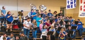 The Letcher County Central High School band rocked the house during last week's opening round game of the Boys' 14th Region Basketball Tournament at Knott Central. (Photo by Chris Anderson)