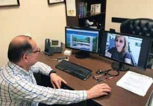 Dr. Salen Hanna, medical director for Mountain Comprehensive Health Corporation, tested the organization's new TeleHealth system at the Whitesburg Medical Clinic earlier this week. (Eagle photo)