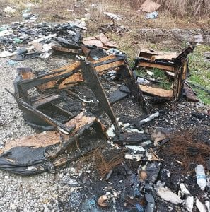 This photo showing burned junk was taken near the Letcher Garbage Transfer Station. It appears on the Facebook page, Letcher County Garbage Patrol.