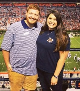 DUSTIN and COURTNEY FRAZIER are pictured at a football game at Auburn University, where she is a veterinary student. The two are Breathitt County natives.