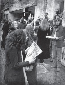 Fans gather outside Apple, headquarters of the Beatles in Savile Row following the announcement of the split between Paul McCartney and the other three members of the world famous pop group in London on April 10, 1970. (AP Photo)