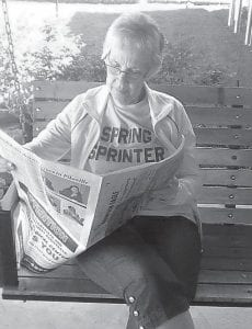 """Pat Wagner of Middletown, Ohio, enjoys reading The Mountain Eagle newspaper. """"Pat is not from the mountains but she does have ties. Actually she has more hillbilly ways,"""" says southern Ohio correspondent Rose Ballard. """"Her husband, Les Wagner, is from the outskirts of Whitesburg."""""""
