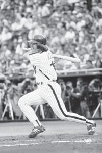 On June 10, 1981, Philadelphia Phillies' Pete Rose belts the baseball into center field to complete his 3,630th career hit to match Stan Musial's NL record, in Philadelphia. He tied the mark in June, then had to wait until August to break it — because a strike shut down the sport for about two months. (AP Photo)