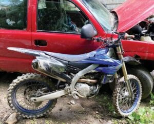 POLICE SAY THIS MOTORCYCLE found on Pert Creek May 29 was stolen from the Blackey area. It was found after a side-by-side allterrain vehicle stolen from Jenkins was found nearby.