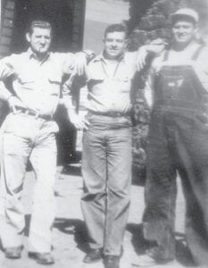 Peanut (Irvin) Napier, Teb (Everett) Hall, Marshel Tacket taken at the Fillin' Station at Marlowe Coal Camp