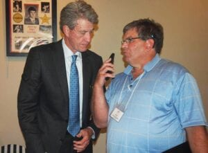 Jimmy Dan Conner, left, talked with former Anderson County News sports editor John Herndon during his induction into the Kentucky Basketball Hall of Fame. Former UK All-American Kevin Grevey says Conner was physically tougher than any player he faced at UK. (Stephanie Herndon Photo)