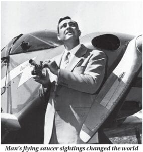 In this 1947 photo, Kenneth Arnold holds a movie camera in front of his CallAir after he reported seeing nine alleged UFOs near Mount Rainier, Washington. Arnold had no idea he would change the world when he told reporters in Pendleton he saw nine strange objects flying along the Cascades. But 73 years ago June 25, that's what he did. (Idaho Statesman via AP)