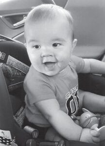FIFTH GENERATION — Eight-month-old Ryder James Rhoads is the son of Rayson and Katie Rhoads of Alabama. His grandparents are Rob and Lisa Swagert of Alabama, and his great-grandmother is Jane Albright, also of Alabama. He is the great-great-grandson of Lizzie Mae Wright of Mayking and the late Rev. Melvin Wright, and is the fifth generation living in Lizzie Mae Wright's family.