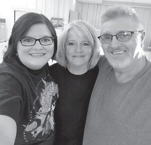 Amanda Begley Wynn is pictured with her mom and dad, Leonard and Gwen Begley.