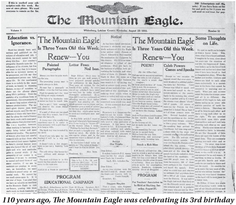 This August 25, 1910 edition of The Mountain Eagle, published 110 years ago this week, celebrated the newspaper's third birthday.