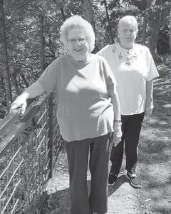 Pictured are Pauline King Bates and Linda Polly, two former Marlowe Coal Camp residents.