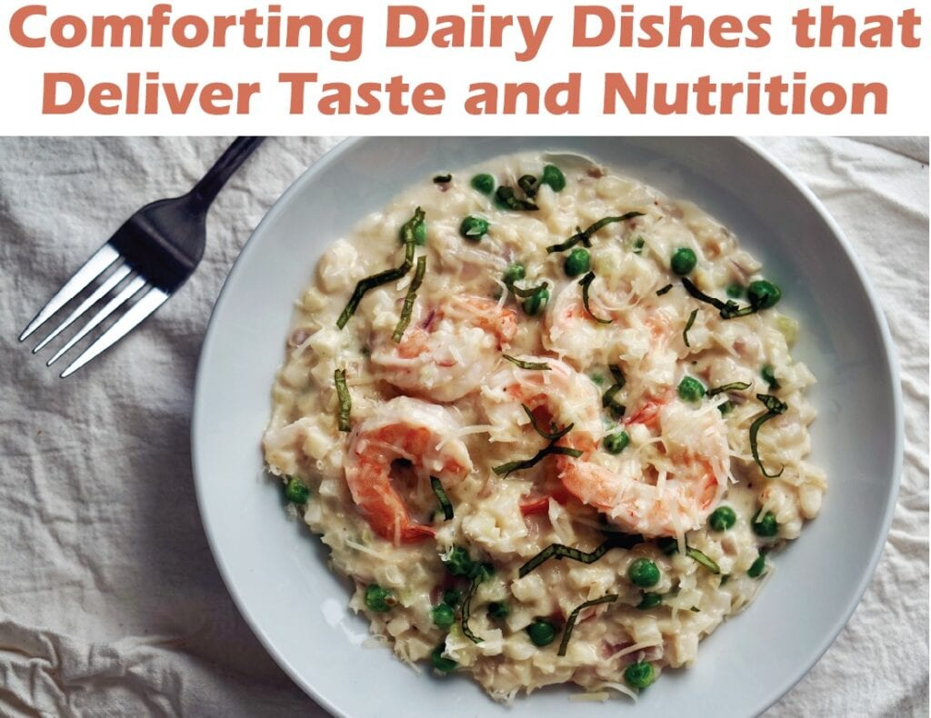 """Cauliflower """"Risotto"""" with Shrimp and Peas"""