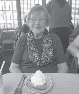 Ann Calihan enjoys pumpkin pie for her birthday Oct. 7.