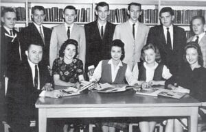 ANNUAL STAFF — (Standing left to right) Gary Meade, Emory Ables, Robbie Walker, James Milich, Charles Meeks, Darrel Hall, Jimmy Craft, (seated) Mr. Martin, Sponsor, Alma Holt-Secretary-Treasurer, Harriet Webb-Editor, Henrietta Tolliver, Gaylen Short.