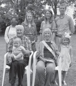 Thelma and Glennon Ison are pictured with their grandchildren, (back row, left to right) Li Fu Stigers, Ellen White, Molly Vice, Ben Vice, (front row) Glennon Ison holding Owen Vice, Thelma Ison and Caroline Vice.