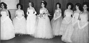 HOMECOMING COURT — Pictured left to right are Joyce Phipps, Dwanna Polly, Diane Harlow, Barbara Roberts (Queen), Delta Bolling, Kay Martin, Rebecca Pass and Madona Taylor.