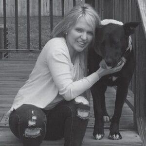 MATTIE COLLINS with her dog Louis