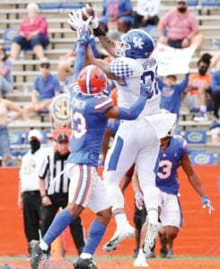 Tight end Keaton Upshaw has been UK's best offensive weapon the last three games — he had the only touchdown against Florida — and says he wants to beat South Carolina Saturday for the team's seniors. (UK Athletics Photo)