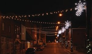 Christmas decorations in Whitesburg, and elsewhere in Letcher County this year, have never looked better, be it a magnificant angel on the office of Dr. David Narramore (top) or the lights decorating Main Street. (Photos by Carla Smith)