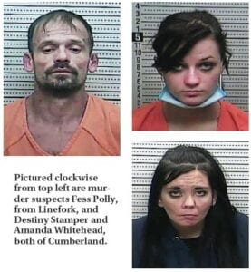 Pictured clockwise from top left are murder suspects Fess Polly, from Linefork, and Destiny Stamper and Amanda Whitehead, both of Cumberland.